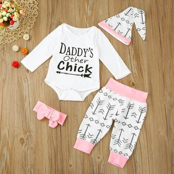 4pcs/Set Daddy's Other Chick Romper Jumpsuit+Pants+Hat+Headband Cute Baby Outfit Clothing Set