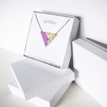 Valentine Day's Gift // Geometric Leather Necklace // Gold Plated Steel Chain // Holographic Gold Pink Triangle Art deco Pendant