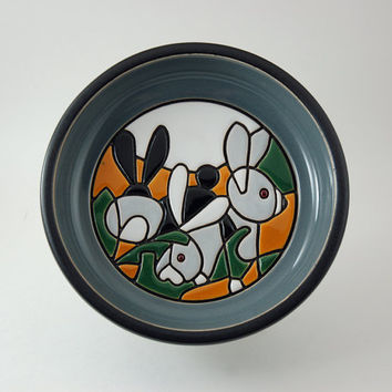 Vintage Pottery Bowl Wall Hanging with Mosaic Bunny Rabbit Design, Hand Made in Uruguay, J J Madison Co. Inc., 1981