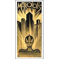 Metropolis VINTAGE MOVIE POSTER 17X36 Futuristic Eerie FILM GEM cult