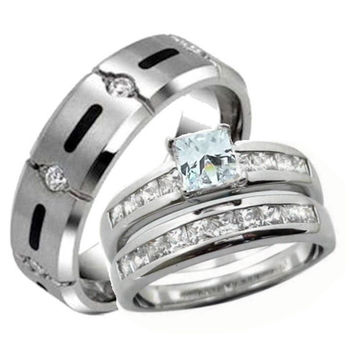 His Hers Wedding Ring Set Sterling Silver & Titanium Wedding Rings