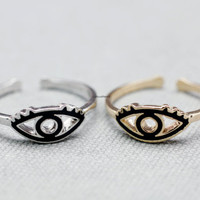 Protective Ring / Evil eye Adjustable Wrap Ring detailed with epoxy evil eye jewelry - available color as ( Gold, Silver )