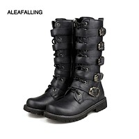 Aleafalling Men Army Boots High Military Combat Boots Metal Buckle Punk Mid-calf Male Motorcycle Boots Lace Up Men's Shoes Rock