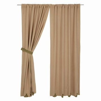 Burlap with Green Check Panel Curtains