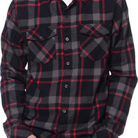Empyre Prey Black & Red Plaid Long Sleeve Flannel Shirt