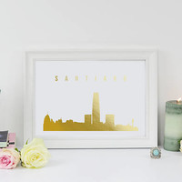 Santiago Skyline, Santiago Print, Real Gold Foil Print, Office Decor, Illustration Art Print, Office Art, Chile Art, Chile Cityscape, Chile