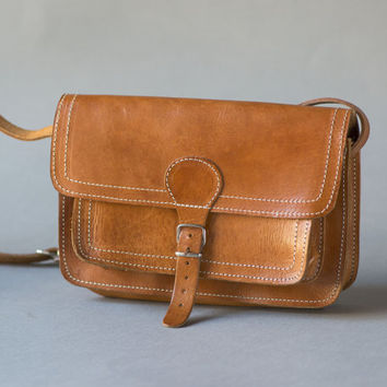 Tan Leather Small Cross Body Bag - Vintage Women's Bag Genuine Leather - Saddle Bag Brown to Carry less - Sturdy Caramel Leather Bag Her