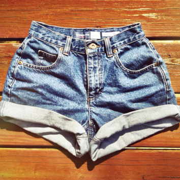 Vintage High Wait Denim Cut Offs