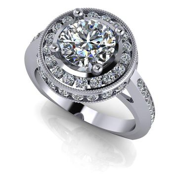 Free Center Stone! Channel Set Diamond Halo Engagement Ring Setting - Round Celestial Premier Moissanite Ring