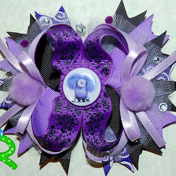 Purple minion hair bow, ott ribbon bow, boutique layer bow