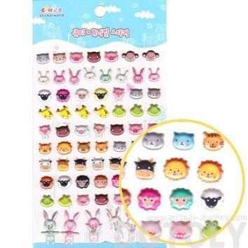 Bear Bunny Sheep Giraffe Pig Lion Animal Face Shaped Jelly Stickers for Scrapbooking