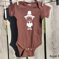 Pilgrim Boy Thanksgiving Baby Bodysuit,Thanksgiving Baby