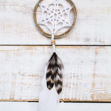 Dream catcher with white doily, crochet boho wedding decor, small dreamcatcher for kids room, unique wedding, bridal shower decorations