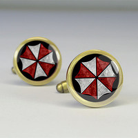 Resident Evil cufflinks,Resident Evil cuff links,umbrella CO cuff-link,video game charm jewelry,glass cufflink- C0312