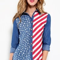 American Flag Chambray Button Down Shirt