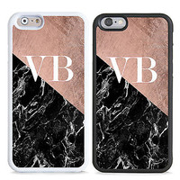 PERSONALISED MONOGRAM ROSE MARBLE INITIALS HARD CASE COVER FOR MOBILE PHONES