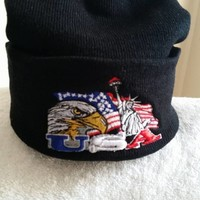 Knit Beanie with USA logo items on a Black Cuffed Hat
