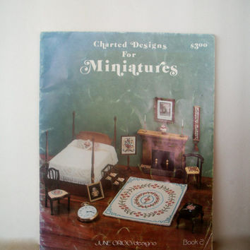 Charted Designs For Miniatures Book 2 By June Grigg -  Needlepoint Cross Stitch Patterns