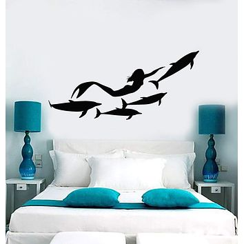Vinyl Wall Decal Mermaid Dolphins Marine Art Ocean Stickers Unique Gift (ig4166)
