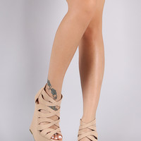 Bamboo Caged Peep Toe Platform Wedge