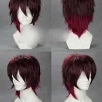 AMNESIA Brown with Auburn Red Highlights Short Anime Cosplay Wig Costume Wigs