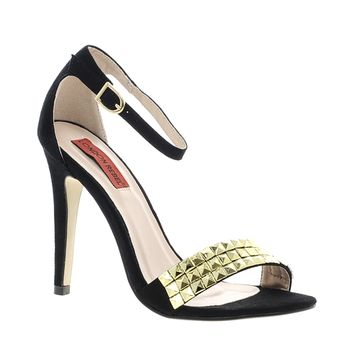 London Rebel Barely There Sandal With Gold Stud Toe Strap