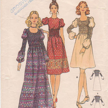 Vintage 1970s Boho dress pattern in 3 lengths elasticized bodice midriff sleeves misses size 12 bust 34 Butterick 6355 CUT and COMPLETE