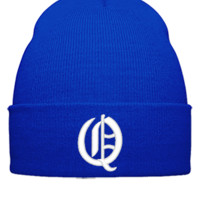Q EMBROIDERY HAT  - Beanie Cuffed Knit Cap