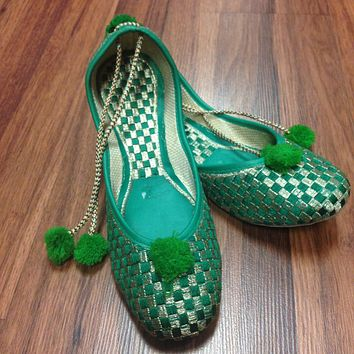 Green and Silver Juti with Laces