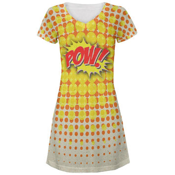 POW Comic Book Super Hero All Over Juniors V-Neck Dress