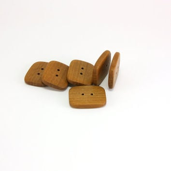 Rectangular applewood buttons - 26mm (1.02in) - Set of 6 natural handmade buttons