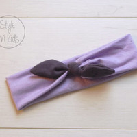 LILLA Top Knot Headband with Aubergine Bow Headband Knot Toddler Headband Head Wrap Baby Bow Headband Newborn Knot Headband