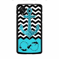 Peter Pan Mint Glitter Anchor Black Chevron Nexus 5 Case
