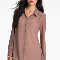 Frenchi® Chiffon Tunic Shirt (Juniors) | Nordstrom