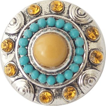 Snap Charm Topaz Color Stone with Turquoise and Topaz Stone Border 20mm