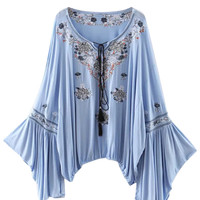 Blue Embroidered Tie Front Split Flared Sleeve Blouse