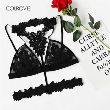 COLROVIE Embroidered Rose Applique Mesh Bralette New Fashion Black Floral Women Clothing Ladies Sexy lingerie
