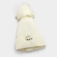 Women's Ivory Soft Knit Fleece Triple Ring Detail Fur Pom Pom Beanie Cap Hat