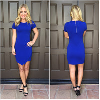 All the Right Angles Dress - ROYAL BLUE