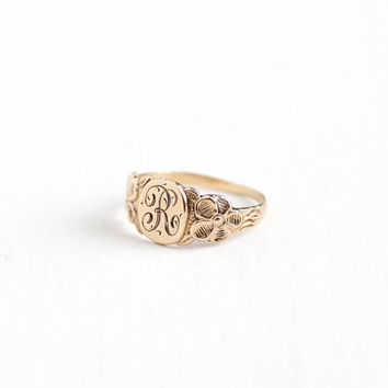 Vintage 10k Rosy Yellow Gold Letter R Signet Ring - 1920s Art Deco Size 2 1/4 Midi Petite Children's Fine Art Nouveau Flower Initial Jewelry