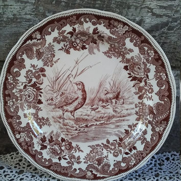 "Copeland Spode #5 Partridge Dinner Plate, Brown Transferware Plate, 10 3/8"", England, Thanksgiving, Wall, Ironstone, Floral, Game Birds"