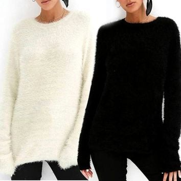 Women Long Sleeve Wool Fur Sweater Solid Blouse Shirt Tops Ladies Casual Pullover Winter Sweaters