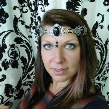 RENAISSANCE -- Made to Order -- Onyx Circlet, Diadem, Unisex Headdress by Crow Haven Road