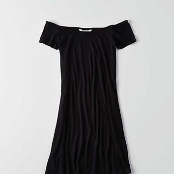 AEO Off-the-Shoulder Shift Dress, True Black