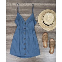 Without You - Linen Button Up Dress - Denim Blue