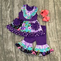 purple flower lavender aqua girls kid wear outfit with matching bow