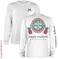 Simply Southern Pineapple Long Sleeve Tee in White