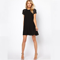 Black Chiffon Short Sleeve Mini Dress with Lace Accent