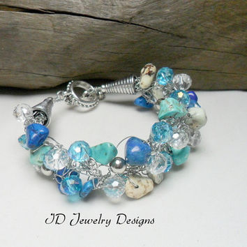 Southwestern Country Western Inspired Jewelry Crochet Silver Wire wrapped Multi Turquoise color Toggle Bracelet