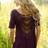 Teenage Dream Crochet Top in eggplant